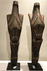 Pair of Antique Sumatran Singha Wooden Statues