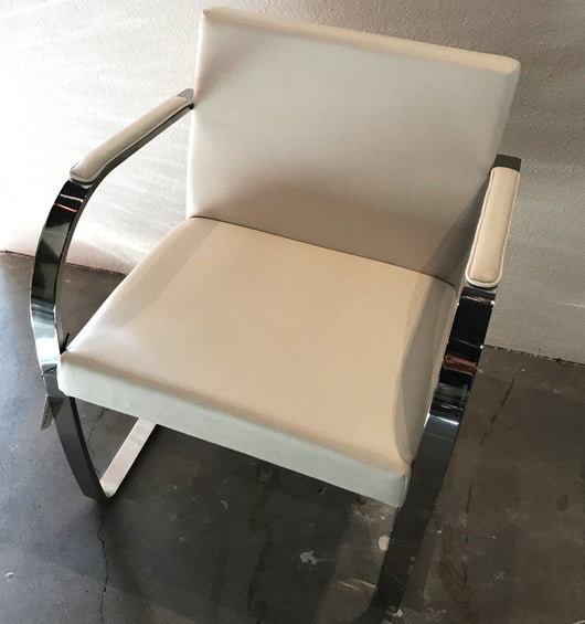 White Leather Chair with Polished Stainless Steel Frame