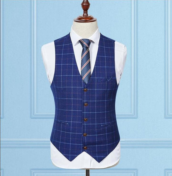 BLUE PLAID MEN'S SUIT (3 Piece)