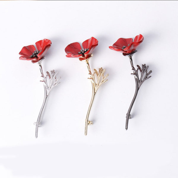 Red Poppy Flower Brooch in Gun Black