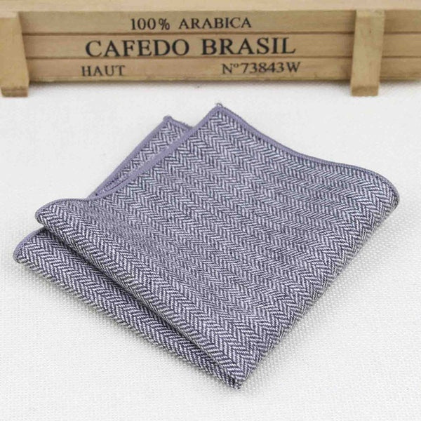 High Quality Hankerchief Scarves Vintage Wool Hankies Men's Pocket Square Handkerchiefs Striped Solid Cotton 23*23cm