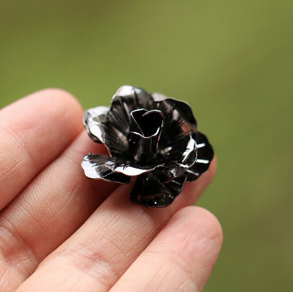 Rose Flower Brooch Black
