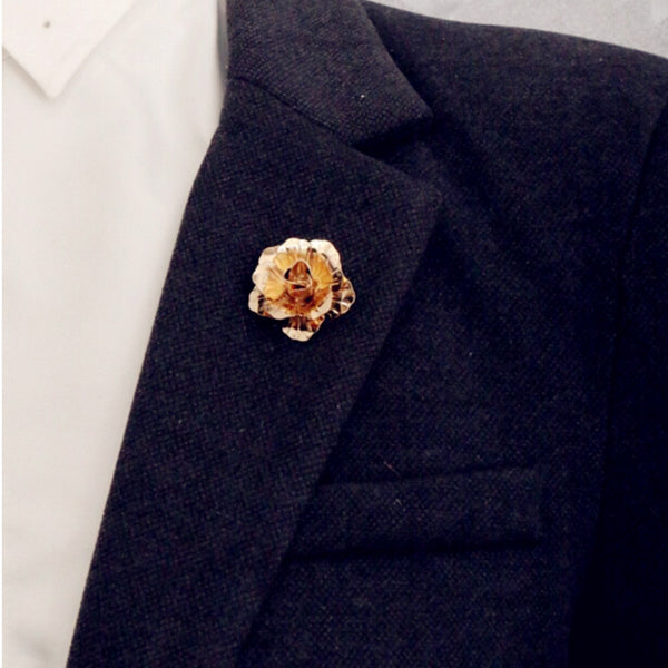 Rose Flower Brooch Champagne