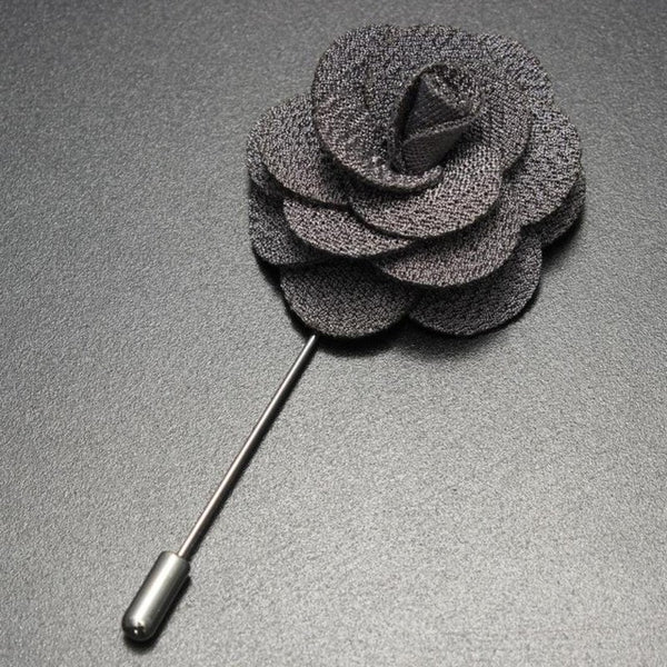 Gray Handmade Flower Brooch