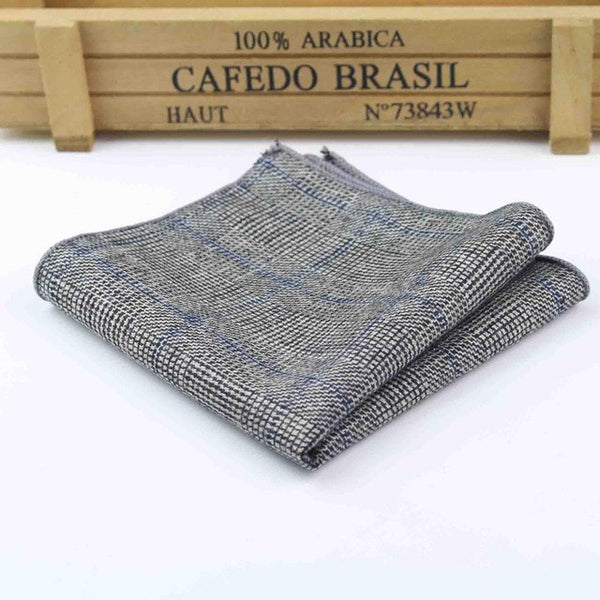Vintage Gent-Gray Plaid with Blue Stripes