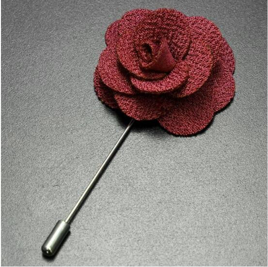 Deep Red Handmade Flower Brooch