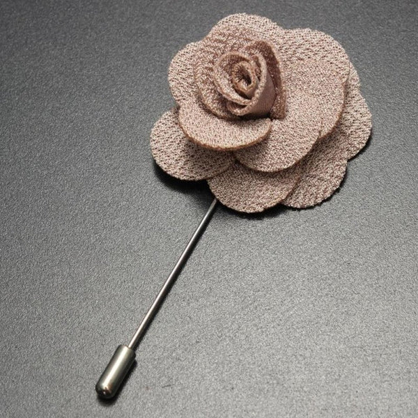 Tan Handmade Flower Brooch
