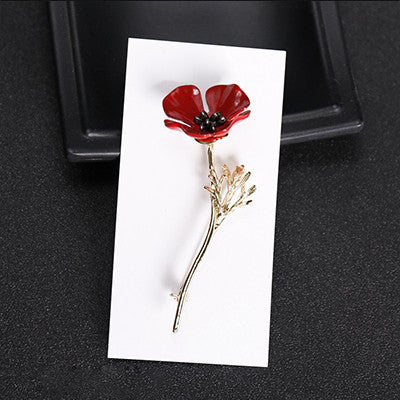Red Poppy Flower Brooch in Gold