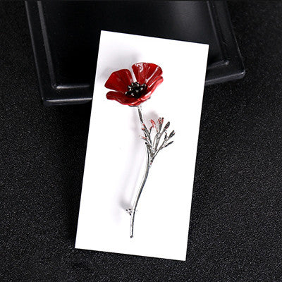 Red Poppy Flower Brooch in Silver