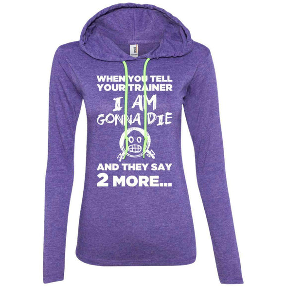 2 More When Trainer Says 2 More Apparel CustomCat 887L Anvil Ladies' LS T-Shirt Hoodie Heather Purple/Neon Yellow M