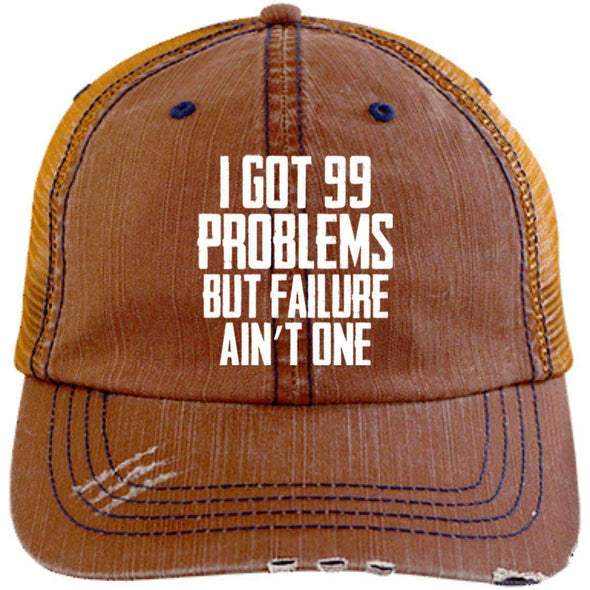 99 Problems Failure Ain't One Hats CustomCat Orange/Navy One Size