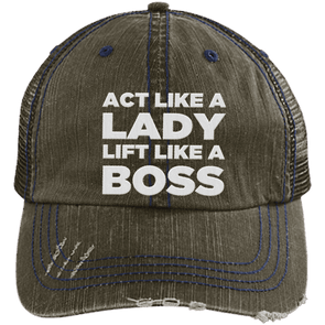 Act Like a Lady Distressed Trucker Cap Apparel CustomCat 6990 Distressed Unstructured Trucker Cap Brown/Navy One Size