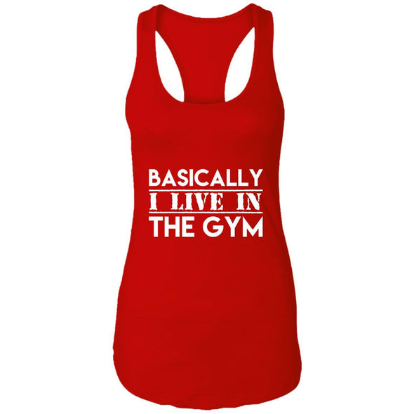 Basically I Live In The Gym Ideal Racerback Tank T-Shirts CustomCat Red X-Small