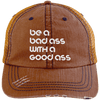 Be a Bad Ass with a Good Ass Distressed Trucker Cap Apparel CustomCat 6990 Distressed Unstructured Trucker Cap Orange/Navy One Size