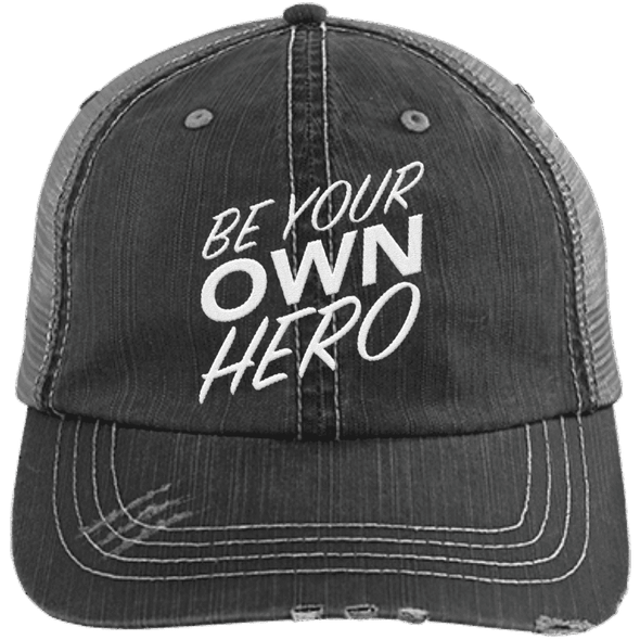 Be Your Own Hero Trucker Cap Apparel CustomCat 6990 Distressed Unstructured Trucker Cap Black/Grey One Size