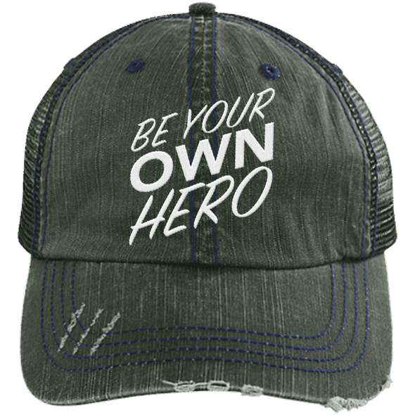 Be Your Own Hero Trucker Cap Apparel CustomCat 6990 Distressed Unstructured Trucker Cap Brown/Navy One Size