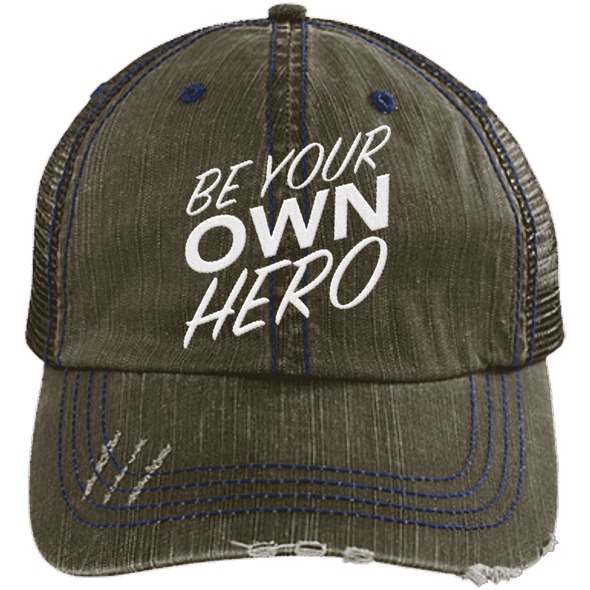 Be Your Own Hero Trucker Cap Apparel CustomCat 6990 Distressed Unstructured Trucker Cap Dark Green/Navy One Size