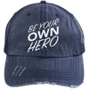 Be Your Own Hero Trucker Cap Apparel CustomCat 6990 Distressed Unstructured Trucker Cap Navy/Navy One Size