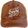 Be Your Own Hero Trucker Cap Apparel CustomCat 6990 Distressed Unstructured Trucker Cap Orange/Navy One Size
