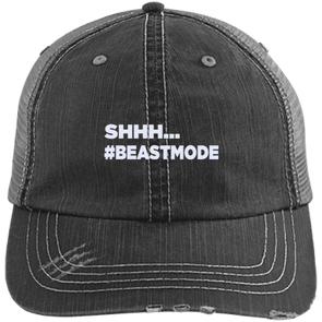 Beastmode Distressed Trucker Cap Apparel CustomCat 6990 Distressed Unstructured Trucker Cap Black/Grey One Size