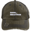 Beastmode Distressed Trucker Cap Apparel CustomCat 6990 Distressed Unstructured Trucker Cap Brown/Navy One Size