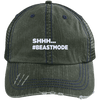 Beastmode Distressed Trucker Cap Apparel CustomCat 6990 Distressed Unstructured Trucker Cap Dark Green/Navy One Size
