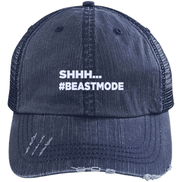 Beastmode Distressed Trucker Cap Apparel CustomCat 6990 Distressed Unstructured Trucker Cap Navy/Navy One Size