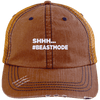 Beastmode Distressed Trucker Cap Apparel CustomCat 6990 Distressed Unstructured Trucker Cap Orange/Navy One Size