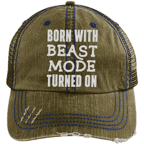 Born Beast Mode On Hats CustomCat Brown/Navy One Size