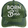 Born to Boss Hats CustomCat Dark Green/Navy One Size