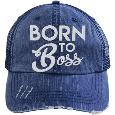Born to Boss Hats CustomCat Navy/Navy One Size