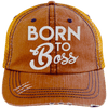 Born to Boss Hats CustomCat Orange/Navy One Size