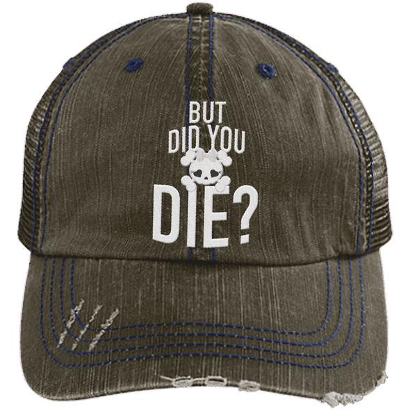 But Did You Die Hats CustomCat Brown/Navy One Size