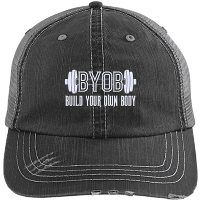 BYOB Distressed Trucker Cap Apparel CustomCat 6990 Distressed Unstructured Trucker Cap Black/Grey One Size