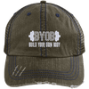 BYOB Distressed Trucker Cap Apparel CustomCat 6990 Distressed Unstructured Trucker Cap Brown/Navy One Size
