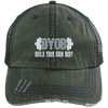 BYOB Distressed Trucker Cap Apparel CustomCat 6990 Distressed Unstructured Trucker Cap Dark Green/Navy One Size