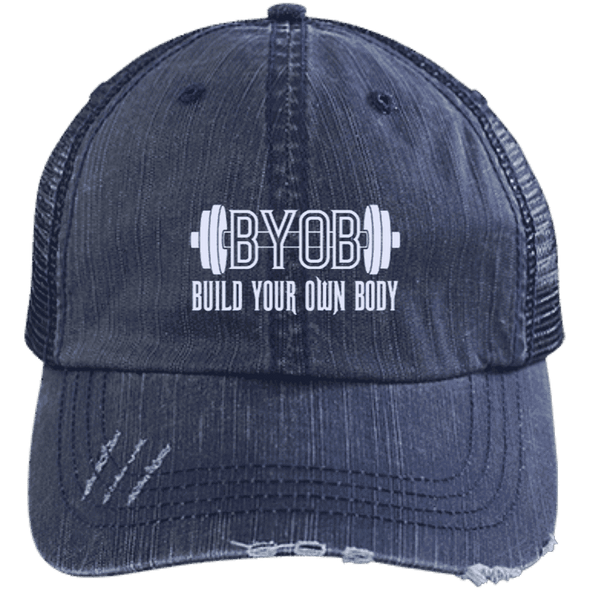 BYOB Distressed Trucker Cap Apparel CustomCat 6990 Distressed Unstructured Trucker Cap Navy/Navy One Size