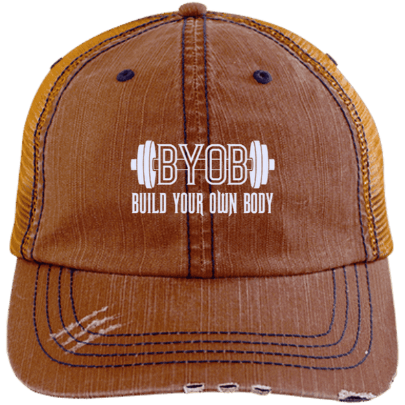 BYOB Distressed Trucker Cap Apparel CustomCat 6990 Distressed Unstructured Trucker Cap Orange/Navy One Size