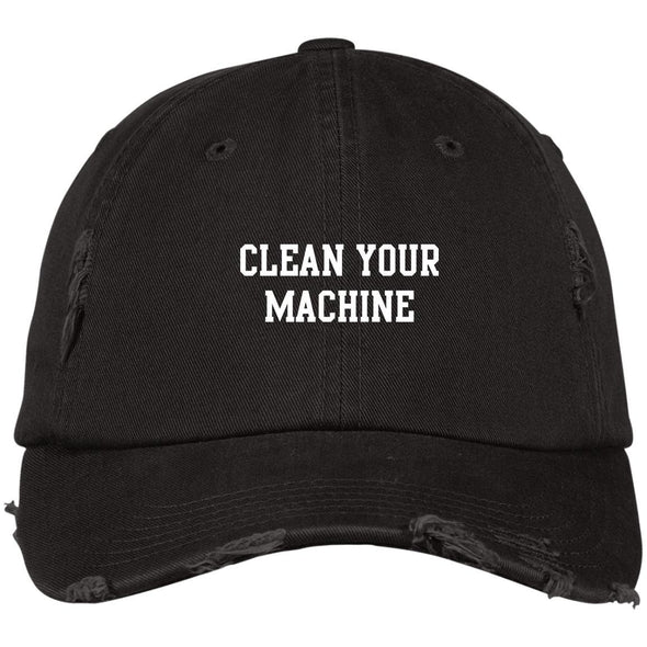 Clean your Machine Caps Apparel CustomCat Distressed Dad Cap Black One Size