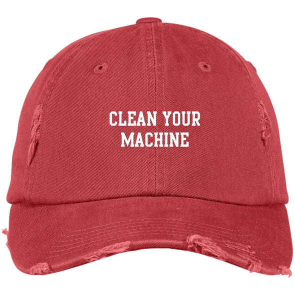 Clean your Machine Caps Apparel CustomCat Distressed Dad Cap Dashing Red One Size