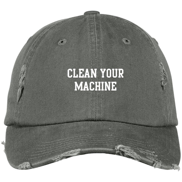 Clean your Machine Caps Apparel CustomCat Distressed Dad Cap Light Olive One Size