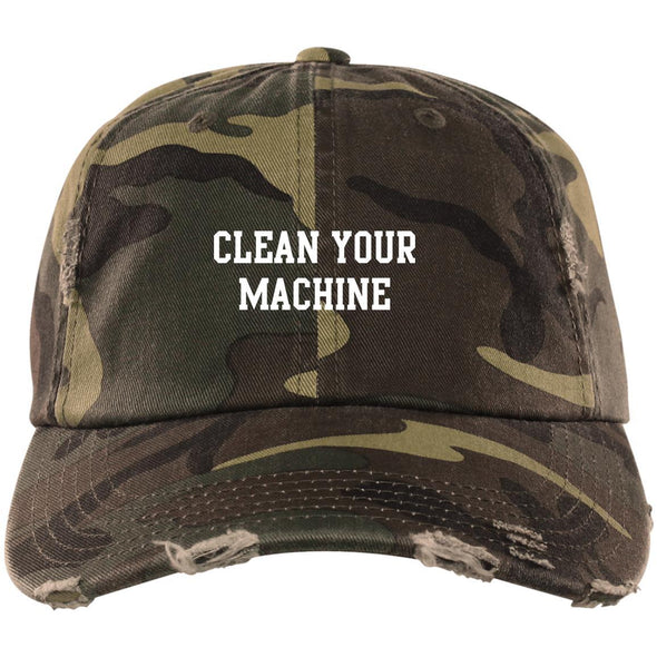 Clean your Machine Caps Apparel CustomCat Distressed Dad Cap Military Camo One Size