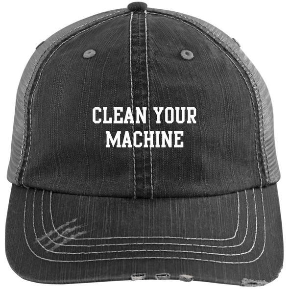 Clean your Machine Caps Apparel CustomCat Distressed Unstructured Trucker Cap Black/Grey One Size