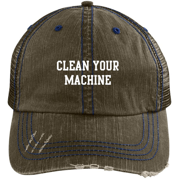 Clean your Machine Caps Apparel CustomCat Distressed Unstructured Trucker Cap Brown/Navy One Size