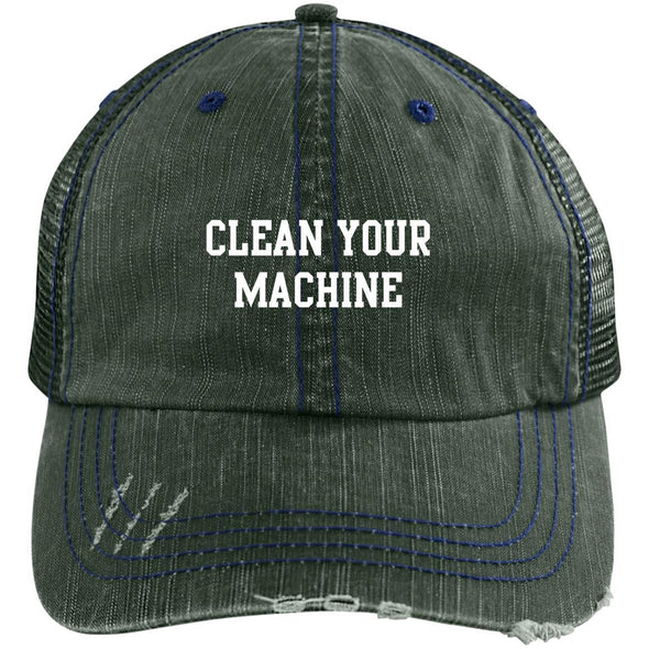 Clean your Machine Caps Apparel CustomCat Distressed Unstructured Trucker Cap Dark Green/Navy One Size