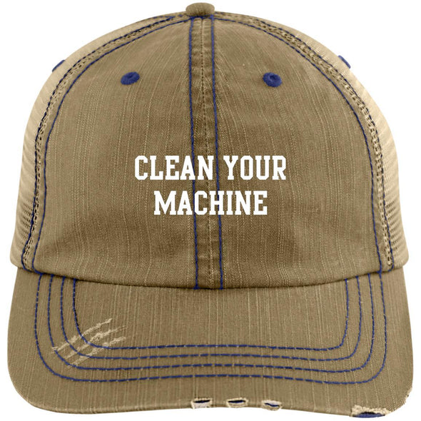 Clean your Machine Caps Apparel CustomCat Distressed Unstructured Trucker Cap Khaki/Navy One Size