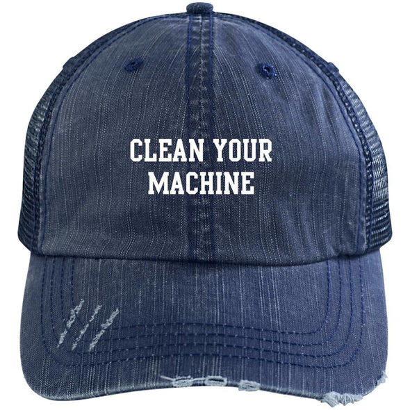 Clean your Machine Caps Apparel CustomCat Distressed Unstructured Trucker Cap Navy/Navy One Size