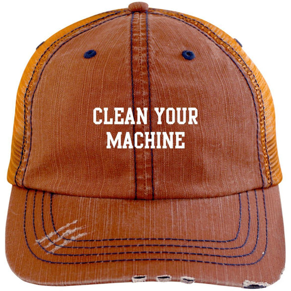 Clean your Machine Caps Apparel CustomCat Distressed Unstructured Trucker Cap Orange/Navy One Size