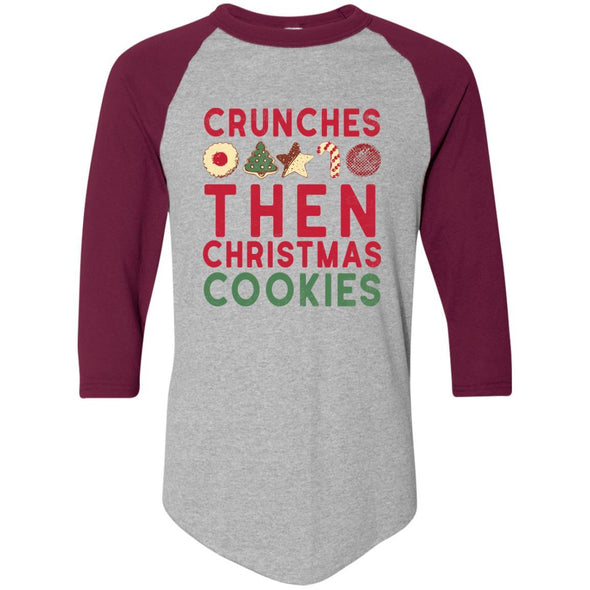 Crunches-then-christmas-cookies Apparel CustomCat Raglan Jersey Athletic Heather/Maroon S