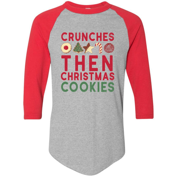 Crunches-then-christmas-cookies Apparel CustomCat Raglan Jersey Athletic Heather/Red S